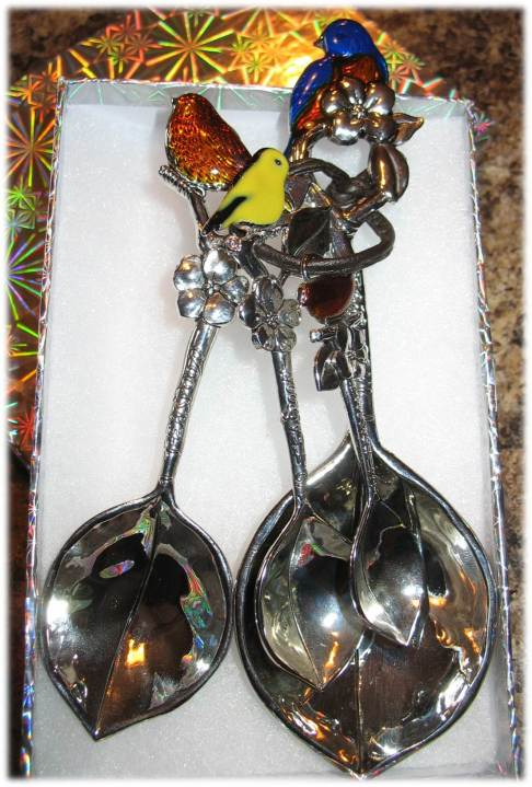 Decorative Bird and Leaf Measuring Spoons