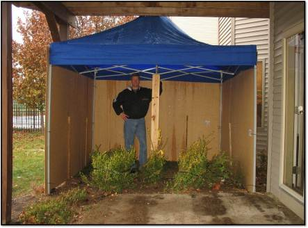 Joel in the completed potty tent