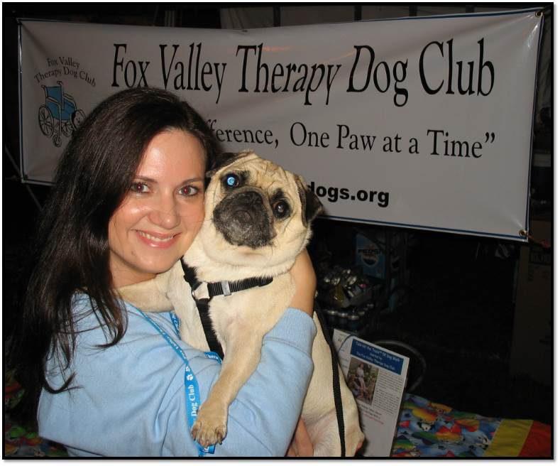 Arden Zich Peanut pug Therapy Dog Team